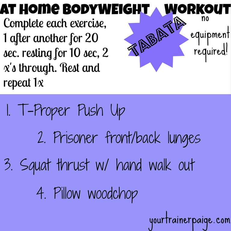 At Home Workout: No Equipment Required Tabata - Paige Kumpf