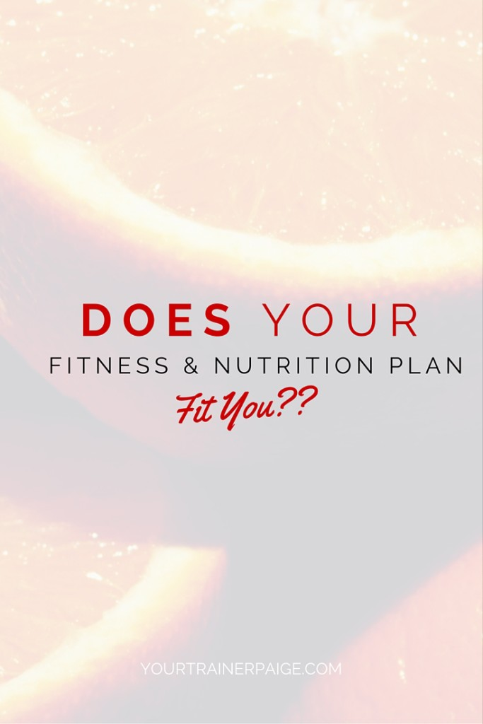 Does your Nutrition and Exercise Plan Fit You?